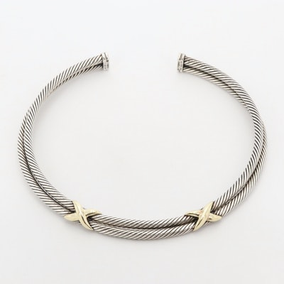 David Yurman X Collection Sterling Collar Necklace with 14K Yellow Gold Accents