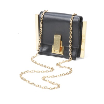Zac Posen Black Leather Flap Front Crossbody Bag with Chain Strap