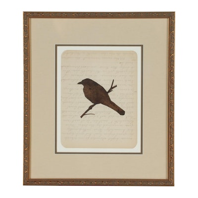 "Lance Letscher 2000 Stone Lithograph ""Dark Brown Bird"""