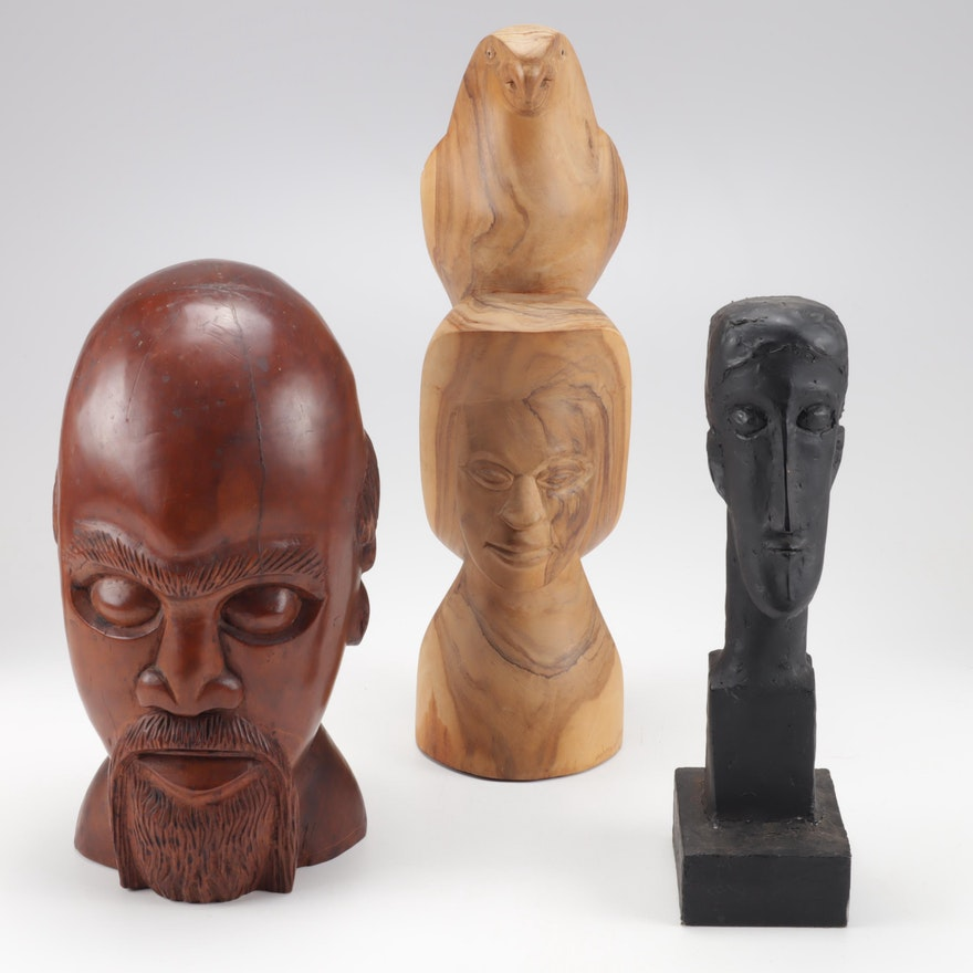 Carved Wood Busts