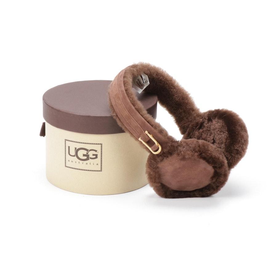 Ugg Australia Brown Shearling Sheepskin Earmuffs