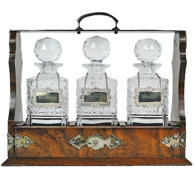Oak Tantalus with Sterling Silver and Crystal Decanter Set, 20th Century