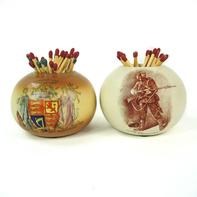 Faience Matchstick Holder and Macintyre Matchstick Holder