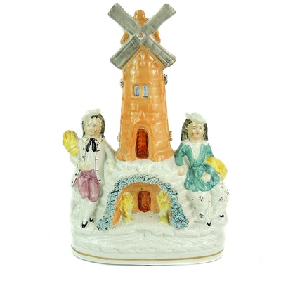 """Staffordshire """"Gleaners and Windmill"""" Figurine, Mid 19th Century"""