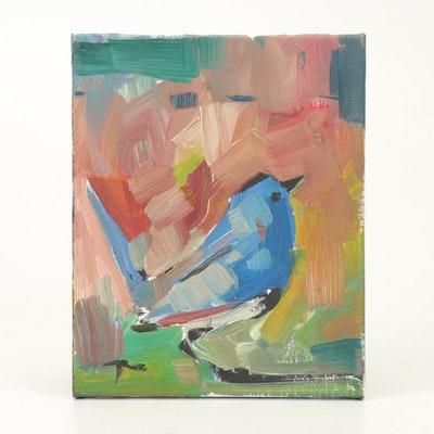 "Jose Trujillo Oil Painting ""Blue Bird"""
