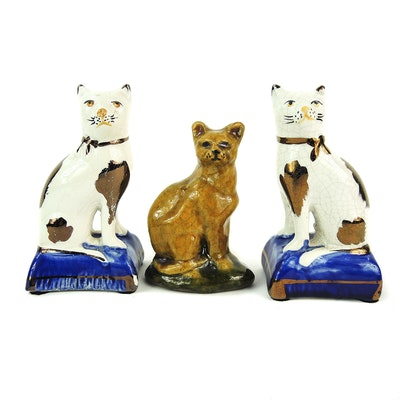Staffordshire Cat Figurines and Mary Spellmire Shooner Redware Cat