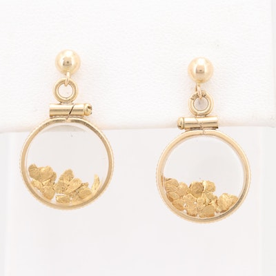14K Yellow Gold and 20K Gold Flake Dangle Earrings