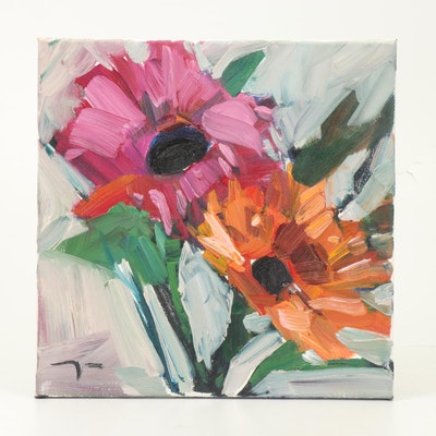 "Jose Trujillo Oil Painting ""Gerber Daisies"""