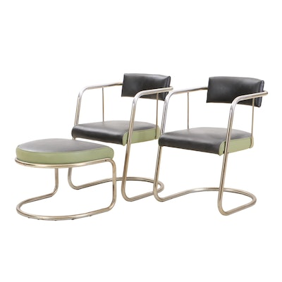Pair of Vinyl Chairs with Ottoman, Mid-20th Century