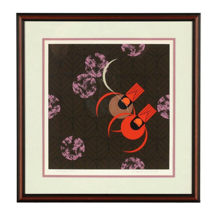 """Charley Harper 1980 Serigraph """"Redbirds and Redbuds"""""""