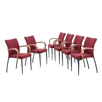 Set of Six Mid-Century Style Stack Arm Chairs