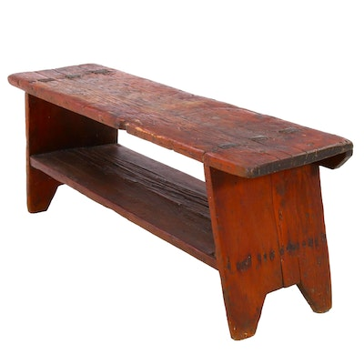 Primitive American Wooden Bench, 19th Century