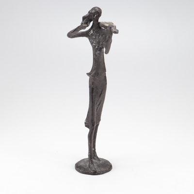 Brutalist Style Cast Bronze Violinist Statue