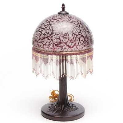 Art Nouveau Style Table Lamp with Bead Embellished Shade
