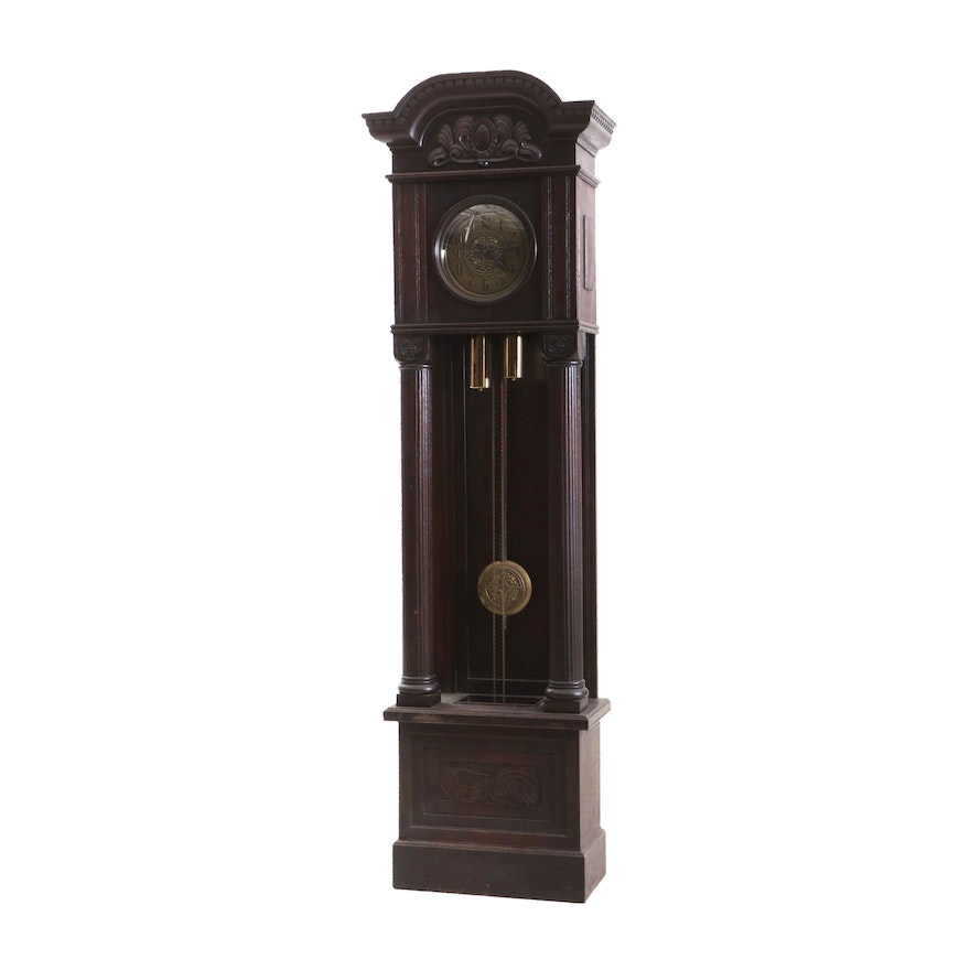 Colonial-Revival Oak Tall-Case Clock Attributed to Gustav Becker, Early 20th C