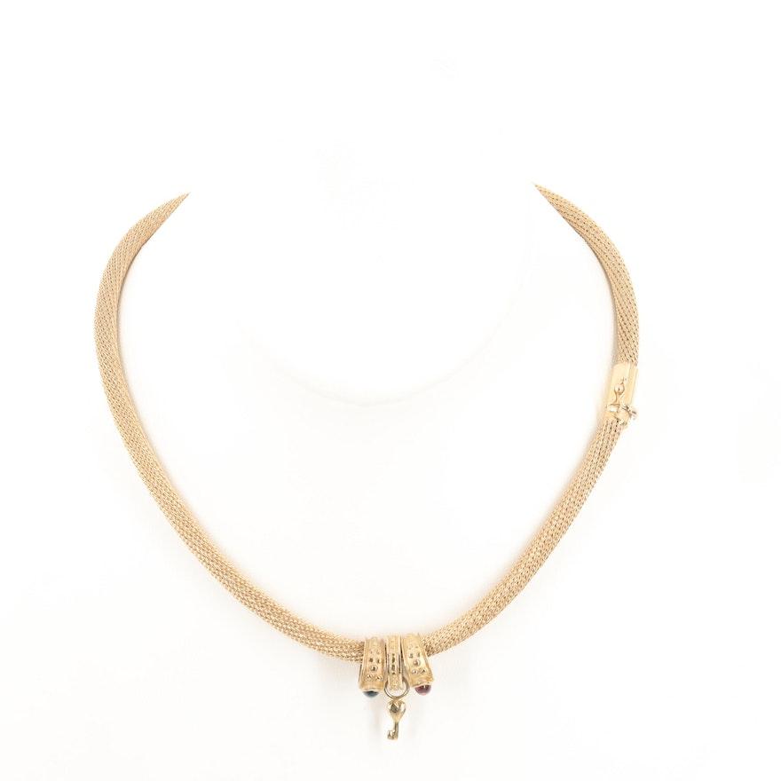 14K Yellow Gold Wheat Chain Necklace with Topaz, Tourmaline, Heart Key Pendants