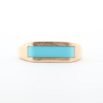 Kabana 14K Yellow Gold Turquoise Inlay Ring
