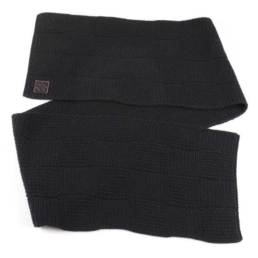 Louis Vuitton Paris Black Wool Knit Wrap