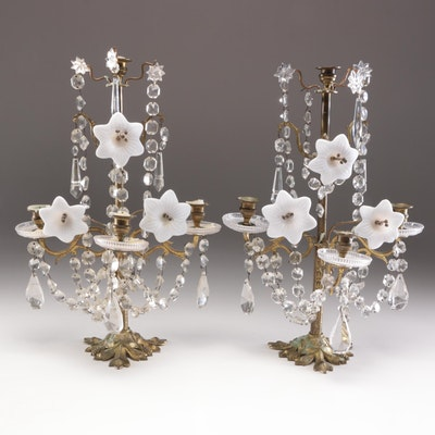 French Neoclassical Bronze Candelabra with Milk Glass Flowerettes