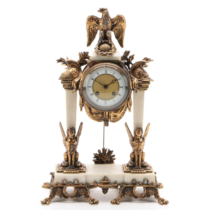 A.D. Mougin French Federal Revival Striking Mantel Clock, Late 19th Century
