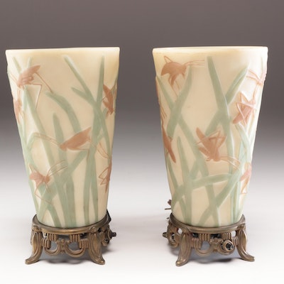 "Phoenix Consolidated Glass ""Grasshopper"" Torchette Lamps, Early to Mid 20th C."