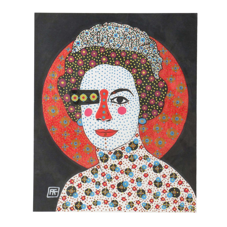 Francois Aguiard Mixed Media Painting Of Queen Elizabeth Ii