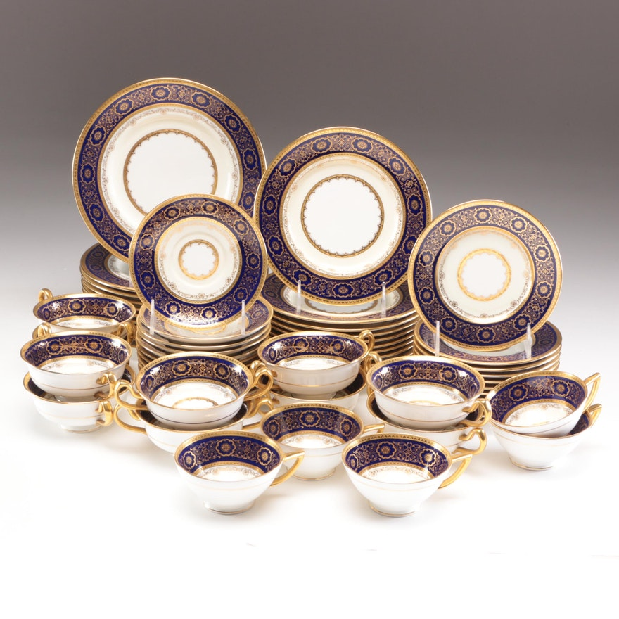"Minton ""Ivory & Mazarine"" Porcelain Dinnerware"