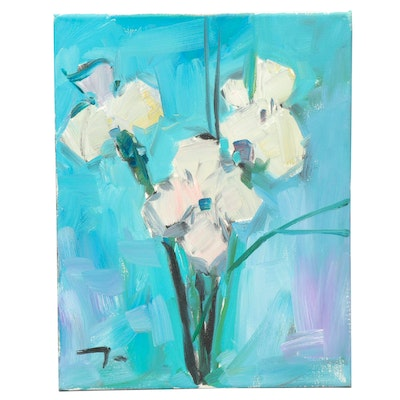 """Jose Trujillo Oil Painting """"White Orchids"""""""