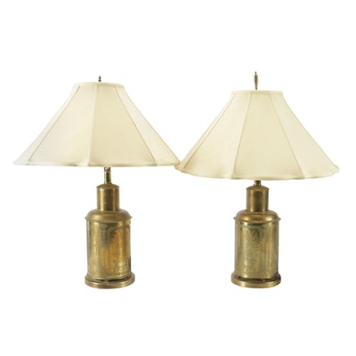 Chinese Brass Table Lamps, Mid-20th Century