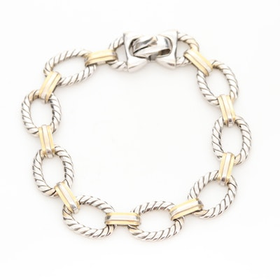 18K White Gold Bracelet with Yellow Gold Accents