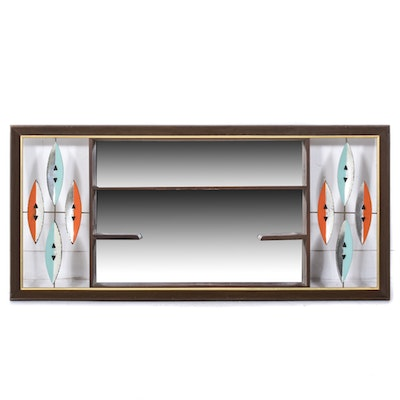 Decorative Mirrored Wall Shelf, Mid-Century
