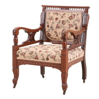 Victorian Carved Walnut Armchair, Late 19th Century