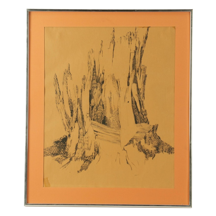 Pen & Ink Abstracted Drawing of Tree Stump