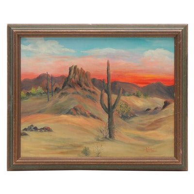 Pat Imes Oil Painting of Desert Landscape