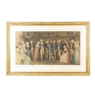 """Hand-Colored Photogravure After Jennie Brownscombe """"The Peace Ball"""""""