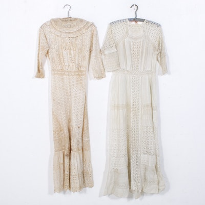 Eyelet Cotton Day Dresses, Early 20th Century
