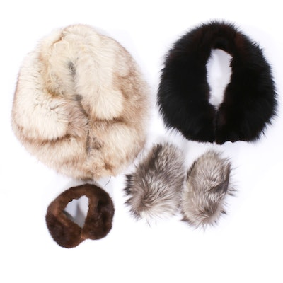 Fox Fur Collars and Cuffs with Mink Fur Collar, Vintage