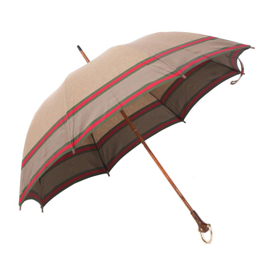 Gucci Canvas Umbrella with Wood Handle