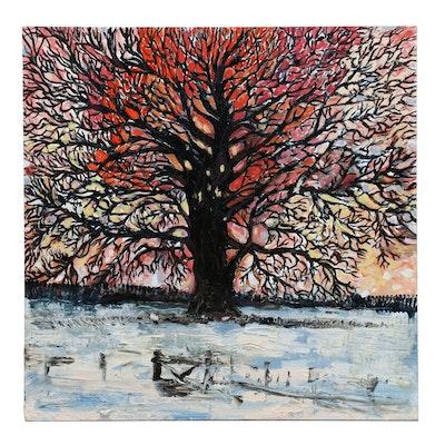 """Laura Reed Landscape Acrylic Painting """"Ohio Oak"""""""