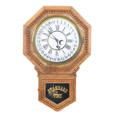 William L Gilbert Regulator Wall Clock with Re-painted Face