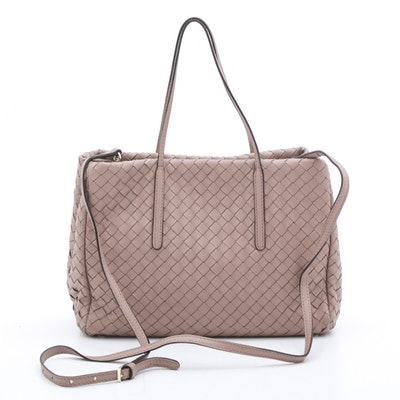 Abro Woven Leather Shoulder Bag with Crossbody Strap