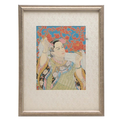 "Paul Jacoulet Woodblock Print ""The Pearls, Manchurian"""