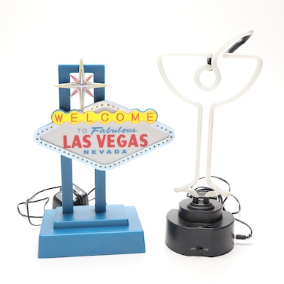 Novelty Las Vegas and Martini Lamps, Late 20th Century