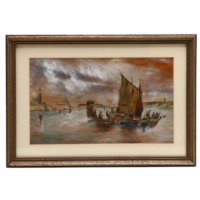 Chinese Harbor Scene Oil Painting