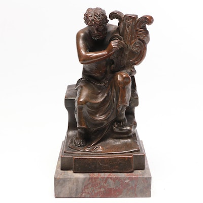 "P. Beneduce Bronze Clad and Marble Bookend ""Homer Playing a Lyre"", 1922"