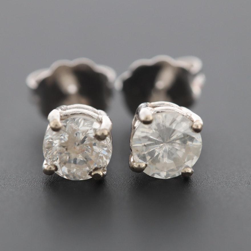 14K White Gold Diamond Stud Earrings
