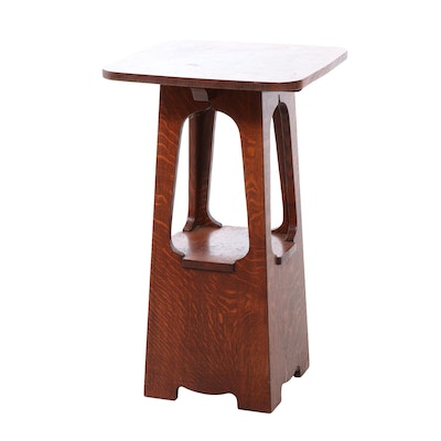 Arts and Crafts Style Quarter Sawn Oak Tabouret, Style of Charles Limbert