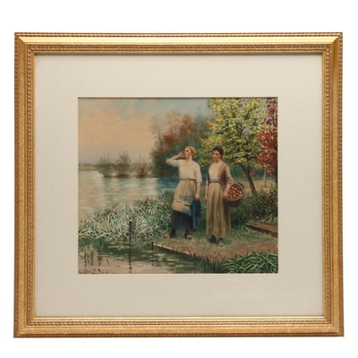 Hand Colored Lithograph after Daniel Ridgway Knight of Women with Apples