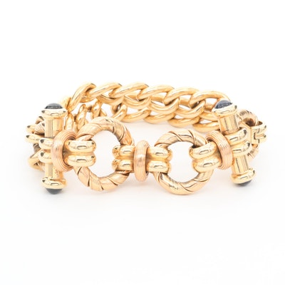 14K Yellow Gold Bracelet with Blue Sapphire and Rose Gold Accents