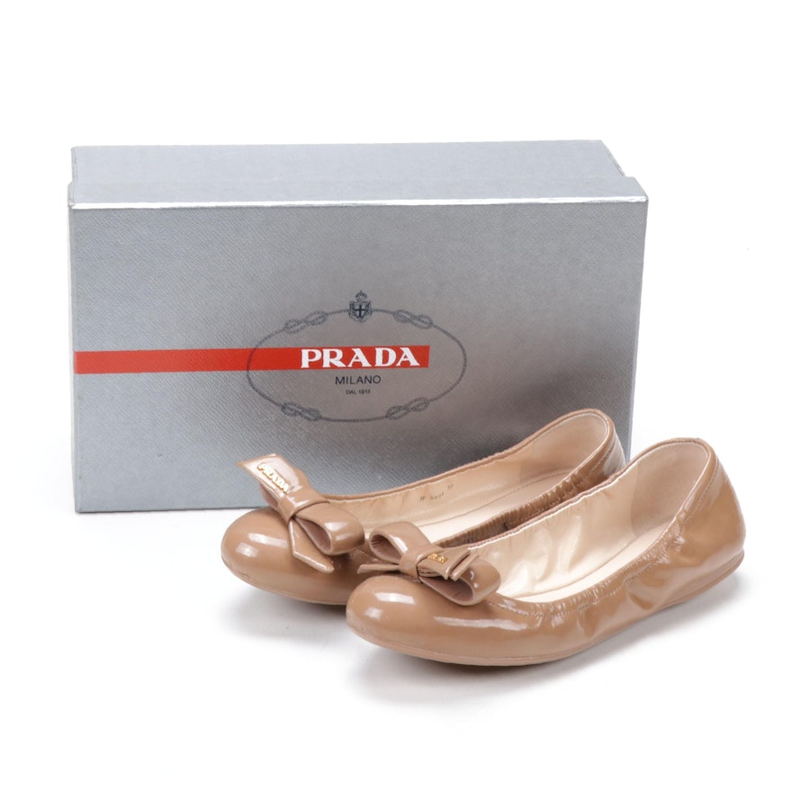 Prada Nude Patent Leather Ballet Flats with Bow